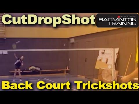 Badminton Technik - Schnittdrops aus dem Hinterfeld (Badminton Technique - Cut from the rear court)