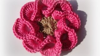 getlinkyoutube.com-3D crochet flowers multi petals  - 1