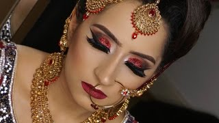 getlinkyoutube.com-Real Bride | Modern Traditional Asian Bridal Makeup | Red Glittery Smokey Eyes