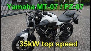 getlinkyoutube.com-Top speed Yamaha MT-07 / FZ-07 35kW version