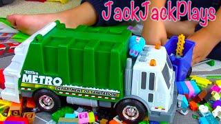 getlinkyoutube.com-Garbage Trucks for Children Toy UNBOXING: Tonka Sanitation Truck Legos JackJackPlays Playing