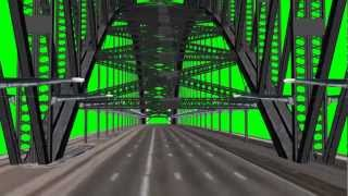 camera ride over the Sydney Harbour Bridge - green screen effect
