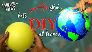 getlinkyoutube.com-How to make a Globe using ball - DIY / Earth model making