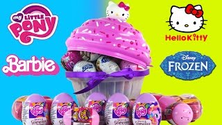 getlinkyoutube.com-30 SURPRISE EGGS! Barbie Glitzi Globes Frozen Powerpuff Girls HelloKitty My Little Pony Toys DCTC