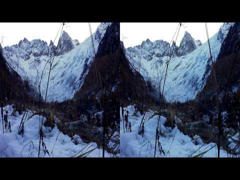 3D HD Tour du Mont Blanc, Glacier du Trient - Colour Correction 'Film Look' Used