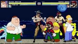 getlinkyoutube.com-AN Mugen Request #191: Peter, Rainbow Dash, Liu Kang & Kung Lao VS Mario, Peter, Spongebob & Homer