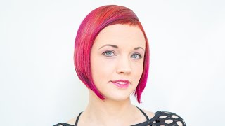 getlinkyoutube.com-long to short haircut makeover | red bob with short bangs ombre by anja herrig @ hairundmehr.com