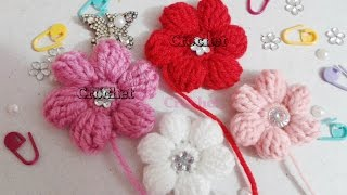 getlinkyoutube.com-كورشيه ورده منتفخه مجسمه 6 بتلات خطوه بخطوه | Crochet flower 6 petals 3d | love Crochet