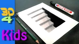 getlinkyoutube.com-How to draw 3D Cellar stairs step by step / #3