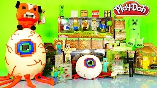 getlinkyoutube.com-GIANT Play Doh Minecraft Surprise Egg Terraria VS Minecraft Toys DCTC Playdough Videos Creations