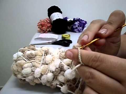 CACHECOL de POMPOM (crochê) para INICIANTES