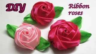 getlinkyoutube.com-Diy ribbon roses, how to make satin ribbon roses,kanzashi roses tutorial