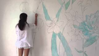getlinkyoutube.com-WALL ART -Flowers in my Room- speed painting
