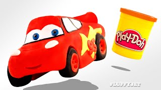 getlinkyoutube.com-Play Doh McQueen Disney Cars toy for kids Family Fun Stop Motion Pixar Race Car Ride driving