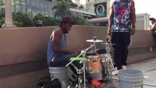 getlinkyoutube.com-The Best Street drummer in Vegas Hands Down !!!