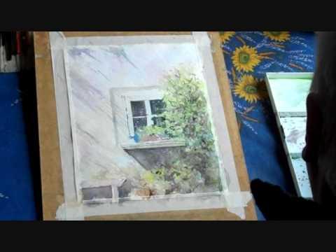 Blue Window -  South France - watercolour by Allan Kirk