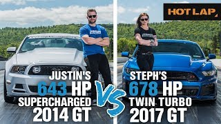 Justin-vs-Steph-Drag-Race-643-HP-Supercharged-GT-vs-678-HP-Twin-Turbo-Mustang-GT-Hot-Lap width=