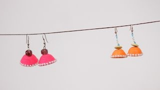 getlinkyoutube.com-How To Make Paper Earrings Jhumka Using Paper Art Quilling | DIY
