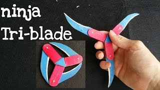 How to make a Ninja Star (Shuriken) | Cyclone Tri-blade Thrower | Popsicle Sticks Weapons