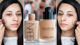 getlinkyoutube.com-Nars Sheer Glow vs Giorgio Armani Luminous Silk: Battle of Foundations | Ysis Lorenna