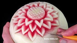 getlinkyoutube.com-Simple Watermelon Flower Style - Int Lesson 1 By Mutita Art Of Fruit And Vegetable Carving Video