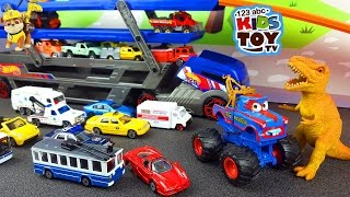 getlinkyoutube.com-Cars for children. Transporter, Ambulance, Garbage Truck, Cars, Taxi, monster truck. Video with toys