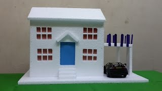getlinkyoutube.com-How to Make Thermocol Bungalow House Model: School Project for Kids