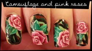 getlinkyoutube.com-Camouflage & Pink Roses nail art
