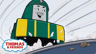 Shane Surfs In the Slippery Snow | Great Race Friends Near and Far | Thomas & Friends