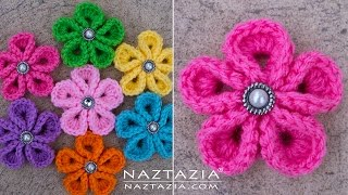 getlinkyoutube.com-DIY Tutorial - How to Crochet Kanzashi Flower - Flowers of Japan