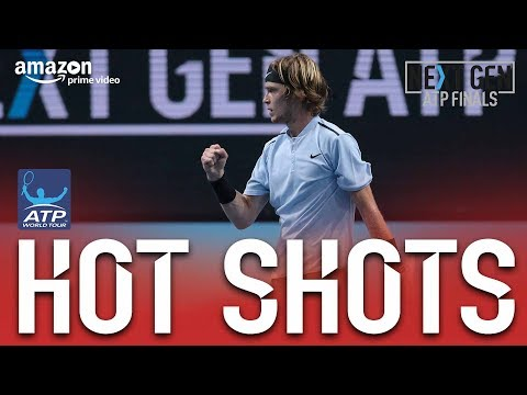 Hot Shot: Rublev Lunges For Backhand Volley Milan 2017