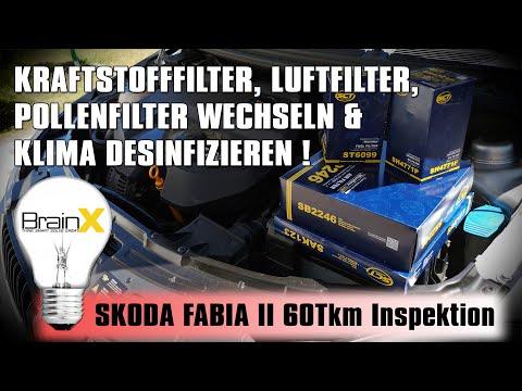 Skoda Fabia 2 Inspektion Kraftstofffilter Luftfilter Pollenfilter wechseln und Klimadesinfektion