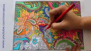getlinkyoutube.com-Speed art, painting, drawing, time lapse complicated colouring for adult, Zentangle