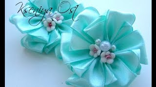 getlinkyoutube.com-МЯТНЫЕ резинки для волос канзаши своими руками! Как прикрепить резинку к цветку канзаши!