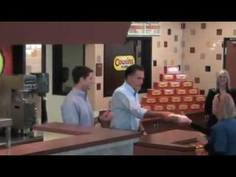 Mitt Romney hands out free subs