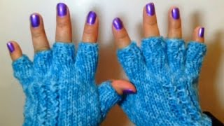 getlinkyoutube.com-Como Tejer Lindos Guantes de Invierno / How to Knit Half Finger Gloves