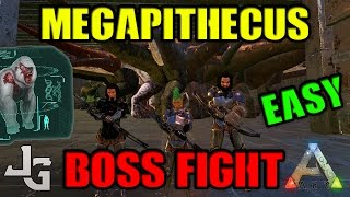 ARK - Megapithecus easy boss fight - 20 Rex's with primitive saddles and 3 players