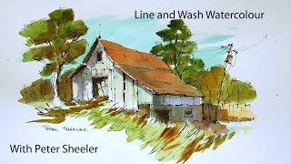 getlinkyoutube.com-A Line and Wash watercolour tutorial by Peter Sheeler, quick and easy style.