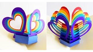 getlinkyoutube.com-Pop up card (twin hearts) - learn how to make a popup heart greeting card - EzyCraft