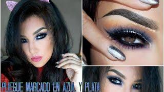 getlinkyoutube.com-Maquillaje de OJOS  Azul y Plata / Makeup tutorial Cut Crease Blue & Silver  auroramakeup