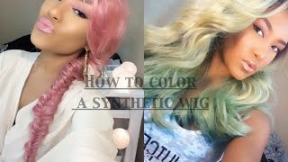 getlinkyoutube.com-D.I.Y | How to Color A Synthetic Wig | Less Than 10mins