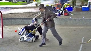 getlinkyoutube.com-70 Year Old Floorball Man Dangles at Ball Hockey Game ft. Uncle Pav.