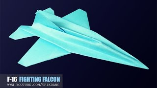 getlinkyoutube.com-Best Paper Planes - How to make a paper airplane JET FIGHTER that FLIES | F-16 Falcon