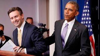 Obama surprises press secretary width=