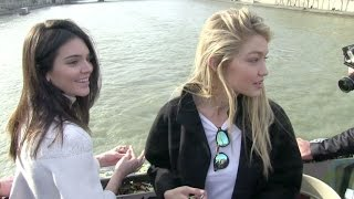 getlinkyoutube.com-EXCLUSIVE - Kendall Jenner and BFF Gigi Hadid seal their friendship on the Pont des Arts in Paris