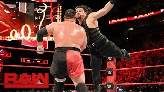 Roman Reigns vs. Samoa Joe - Intercontinental Championship Match: Raw, Jan. 1, 2018