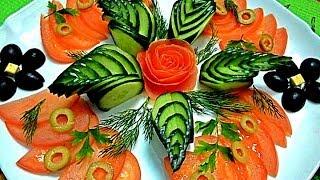getlinkyoutube.com-Украшения из овощей. Украшения из огурца. Как красиво нарезать огурец. Decoration of vegetables