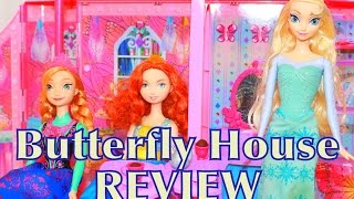 getlinkyoutube.com-Barbie Butterfly Doll House Dream house Toy Review Princess Frozen Elsa Anna Brave AllToyCollector