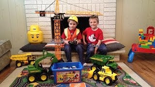 getlinkyoutube.com-John Deere Construction Toys in action!. Crane & Excavator are back!!!