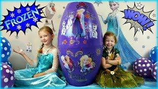 getlinkyoutube.com-BIGGEST SURPRISE EGG Ever! FROZEN Surprise Toys Eggs Disney Frozen Elsa and Anna
